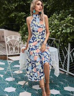 Γυναικείο φόρεμα με φλοράλ ντεσέν 635705