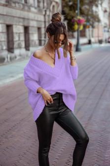 Γυναικείο χαλαρό πουλόβερ 9530 μωβ