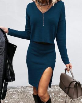 Σετ μπλούζα και φούστα 2640 μπλε