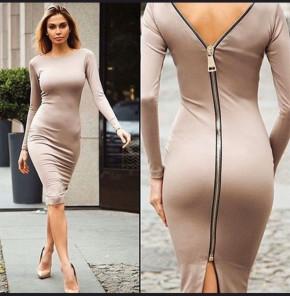 Γυναικείο φόρεμα με φερμουάρ 3824 μπεζ