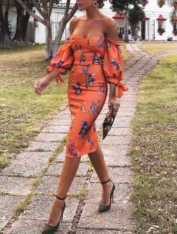 Γυναικείο φόρεμα με εντυπωσιακά μανίκια 2174902