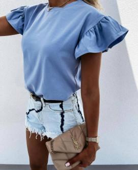 Γυναικεία μπλούζα με εντυπωσιακό μανίκι 4465 γαλάζια
