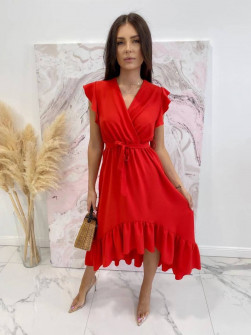 Γυναικείο ασύμμετρο φόρεμα 3690 κόκκινο