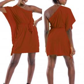 Γυναικείο έξωμο φόρεμα 65478 μπορντό
