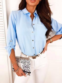 Γυναικείο μονόχρωμο πουκάμισο 9363 γαλάζιο