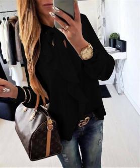 Γυναικεία μπλούζα με κορδέλα στον λαιμό 3263 μαύρη