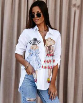 Γυναικείο πουκάμισο με στάμπα 548208