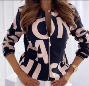 Γυναικείο μπουφάν με print 3337 ροζ
