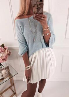 Γυναικεία πλεκτή μπλούζα 4440 γαλάζια