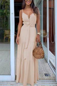 Γυναικείο μακρύ φόρεμα με κουμπιά και ζώνη 5215 μπεζ