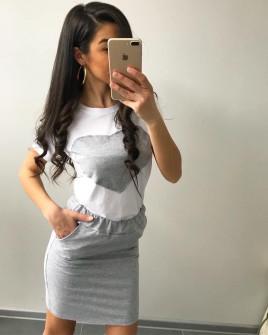 Γυναικείο σετ φούστα και κοντομάνικο 2133 γκρι