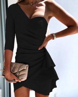Γυναικείο φόρεμα με ένα μανίκι 3730 μαύρο
