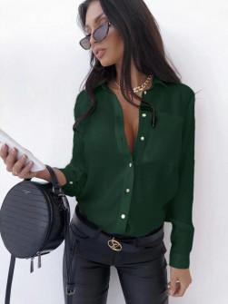 Γυναικείο μονόχρωμο πουκάμισο 3295 πράσινο