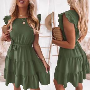 Γυναικείο φόρεμα με ζώνη 5856 χακί
