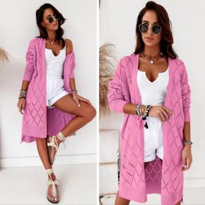 Γυναικεία μακριά ζακέτα 88001 ροζ