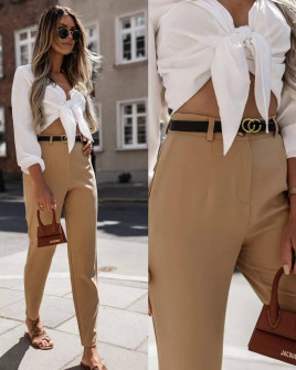 Γυναικείο παντελόνι με ζώνη 5887 καμηλό