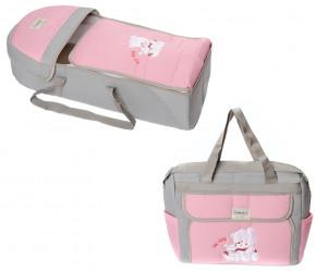 Σετ πορτ μπεμπέ και τσάντα 00453 ανοιχτό γκρι/ροζ