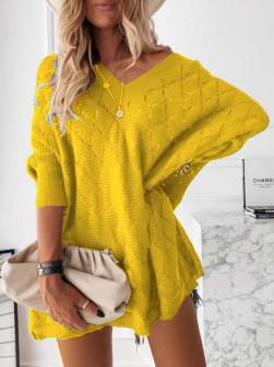 Γυναικείο πλεκτό μπλουζοφόρεμα 88017 κίτρινο