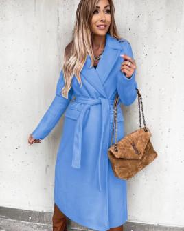 Γυναικείο μακρύ παλτό με ζώνη και φόδρα 6056 γαλάζιο