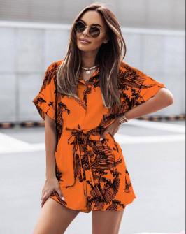 Γυναικεία ολόσωμη φόρμα με print 5836 πορτοκαλί