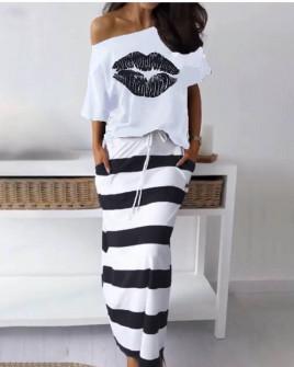 Γυναικείο σετ φούστα και μπλούζα 2199 άσπρο