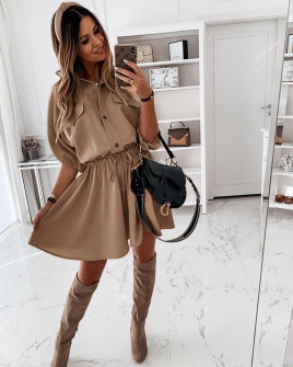 Γυναικείο φόρεμα με λάστιχο στη μέση 5324 καμηλό