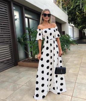 Γυναικείο μακρύ φόρεμα πουά 5191 άσπρο