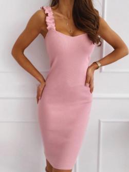 Γυναικείο φόρεμα με εντυπωσιακές τιράντες 5074 λιλά
