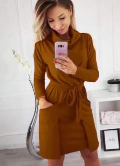 Γυναικείο φόρεμα με ζιβάγκο γιακά 3759 καφέ