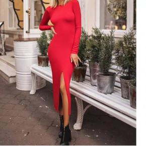Γυναικείο εφαρμοστό φόρεμα μίντι 5512 κόκκινο