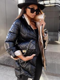 Γυναικείο εντυπωσιακό μπουφάν MF04 μαύρο