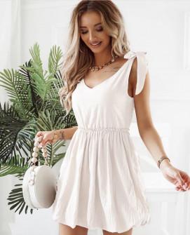 Γυναικείο φόρεμα με εντυπωσιακές τιράντες 8088 άσπρο