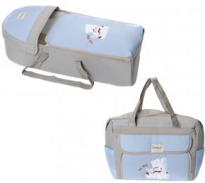 Σετ πορτ μπεμπέ, τσάντα, μάρσιπος και χαλάκι 00453 ανοιχτό γκρι/ γαλάζιο