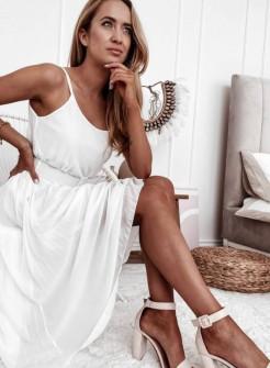 Γυναικείο φόρεμα μίντι με ζώνη 5826 άσπρο