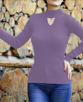 Γυναικεία μπλούζα ημιζιβάγκο 81025 μωβ