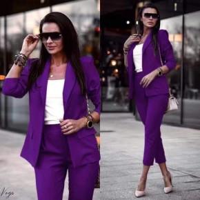 Γυναικείο σετ σακάκι και παντελόνι 3970 μωβ