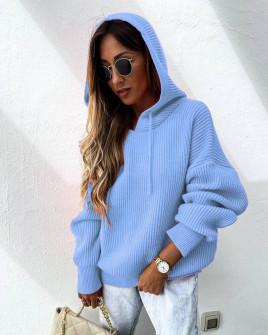 Γυναικεία πλεκτή μπλούζα με κουκούλα 00828 μπλε