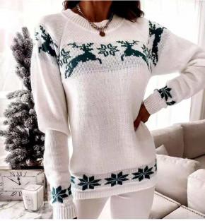 Χριστουγεννιάτικο πουλόβερ 8770 άσπρο/πράσινο