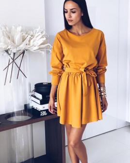 Γυναικείο χαλαρό φόρεμα με ζώνη 3140 κίτρινο