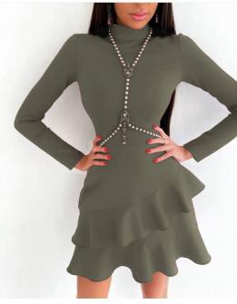 Γυναικείο κομψό φόρεμα 21655 σκούρο πράσινο