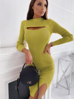 Εφαρμοστό φόρεμα 26885 κίτρινο