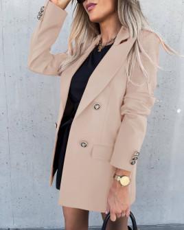 Γυναικείο μακρύ σακάκι με φόδρα 6075 μπεζ