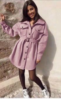 Γυναικείο παλτό βελουτέ 5322 ροζ