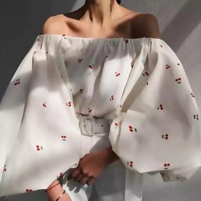 Γυναικεία μπλούζα με φουσκωτό μανίκι 3702 άσπρο