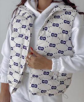 Γυναικείο αμάνικο μπουφάν με print 82058 άσπρο