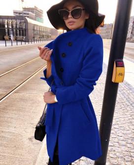 Γυναικείο παλτό με κουμπιά και ζώνη 18915 μπλε
