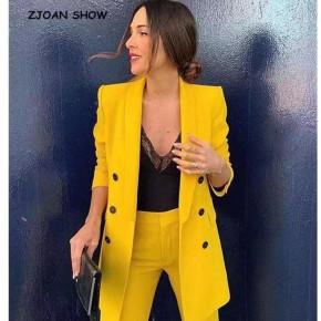 Γυναικείο σετ σακάκι και παντελόνι 5013 κίτρινο
