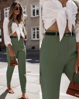 Γυναικείο παντελόνι με ζώνη 5887 χακί
