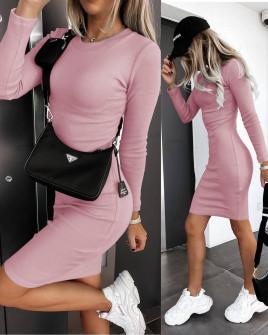 Γυναικείο εφαρμοστό φόρεμα 6008 ροζ