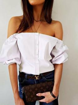 Γυναικεία έξωμη μπλούζα 35822 άσπρη